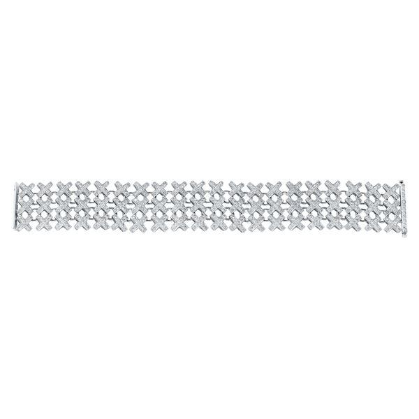Natural 9.05 CTW Diamond Bracelet 14K White Gold - REF-689N4Y