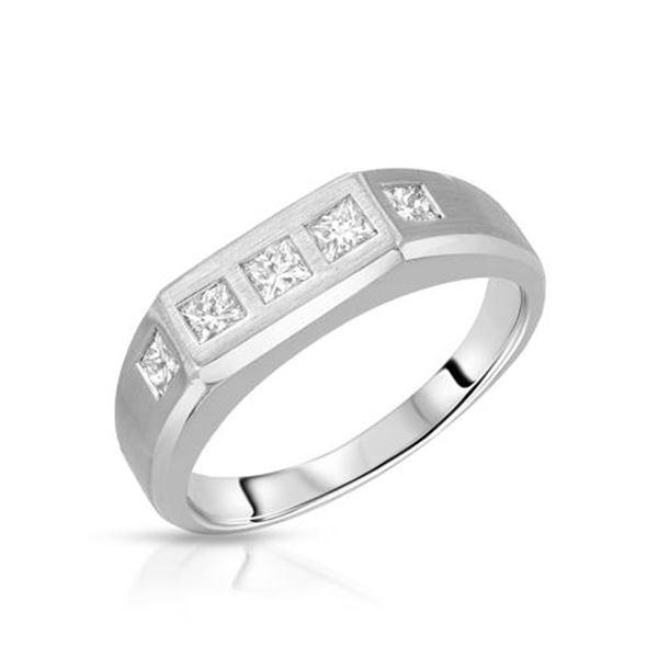 Natural 0.59 CTW Princess Diamond Ring 14K White Gold - REF-99F2M