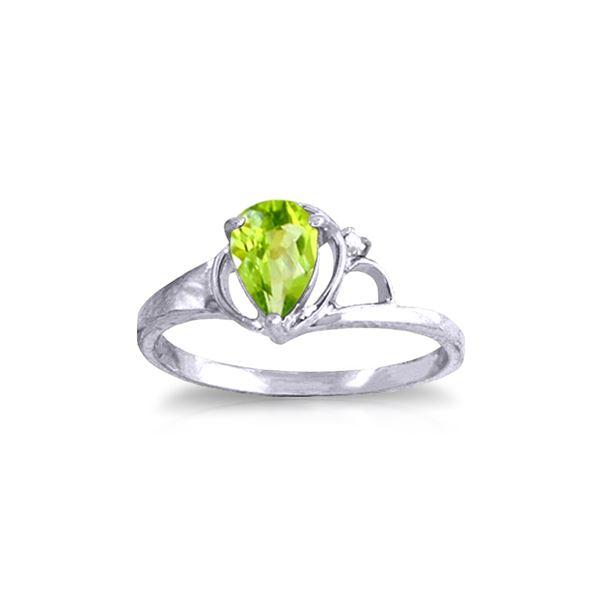 Genuine 0.66 ctw Peridot & Diamond Ring 14KT White Gold - REF-31P4H