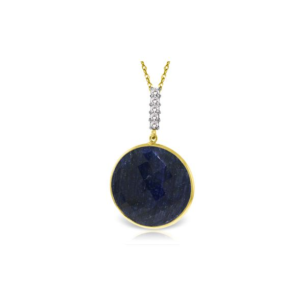 Genuine 23.08 ctw Sapphire & Diamond Necklace 14KT Yellow Gold - REF-51T4A