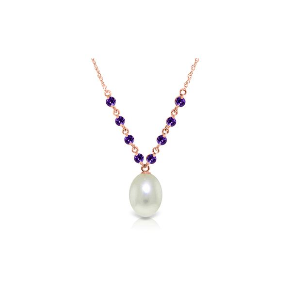 Genuine 5 ctw Pearl & Amethyst Necklace 14KT Rose Gold - REF-25A4K