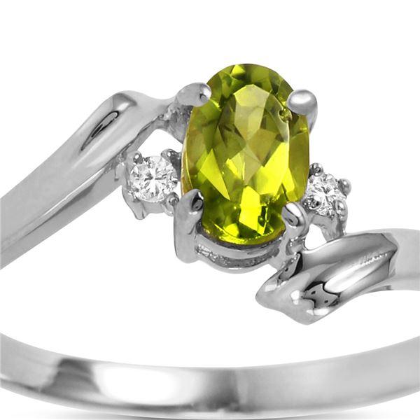 Genuine 0.46 ctw Peridot & Diamond Ring 14KT White Gold - REF-28M3T