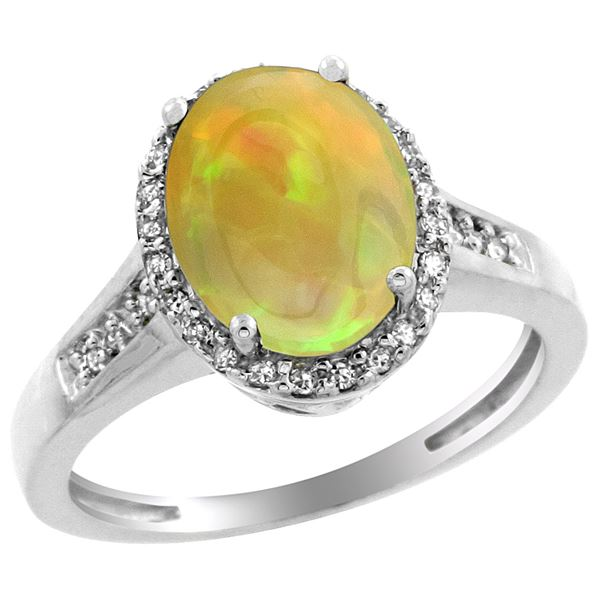 1.97 CTW Ethiopian Opal & Diamond Ring 10K White Gold - REF-57R6H
