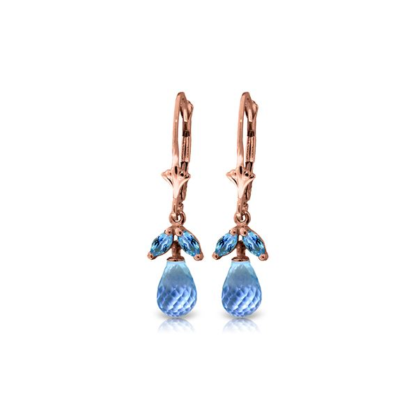 Genuine 3.4 ctw Blue Topaz Earrings 14KT Rose Gold - REF-26F6Z