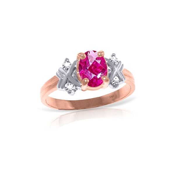 Genuine 0.97 ctw Pink Topaz & Diamond Ring 14KT Rose Gold - REF-59A5K