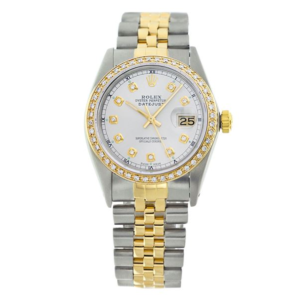 Rolex Pre-owned 36mm Mens White with Tracker Two Tone