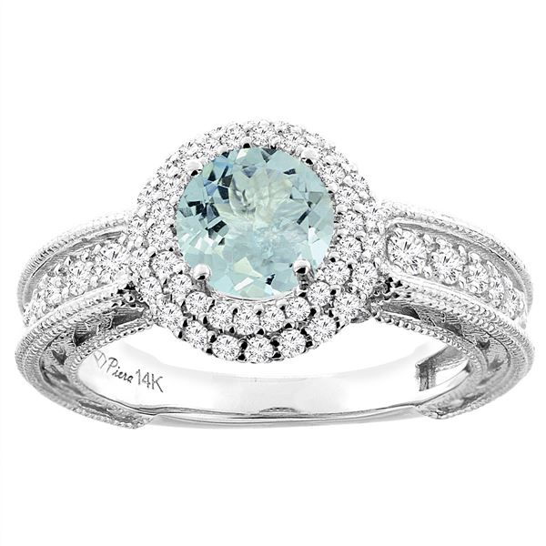 1.25 CTW Aquamarine & Diamond Ring 14K White Gold - REF-93A7X