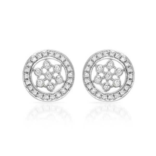 Natural 0.25 CTW Diamond Earrings 14K White Gold - REF-49W5H
