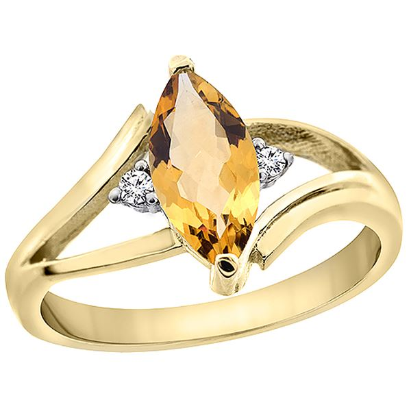1.04 CTW Citrine & Diamond Ring 14K Yellow Gold - REF-31M2A