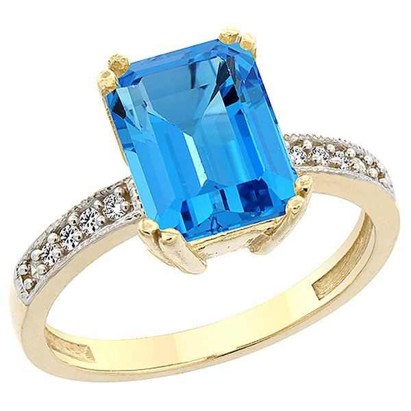 3.70 CTW Swiss Blue Topaz & Diamond Ring 14K Yellow Gold - REF-40Y2V