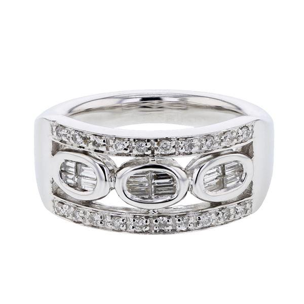 Natural 0.49 CTW Baguette & Diamond Ring 18K White Gold - REF-151F2M