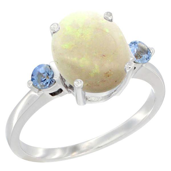 1.65 CTW Opal & Blue Sapphire Ring 14K White Gold - REF-31V7R