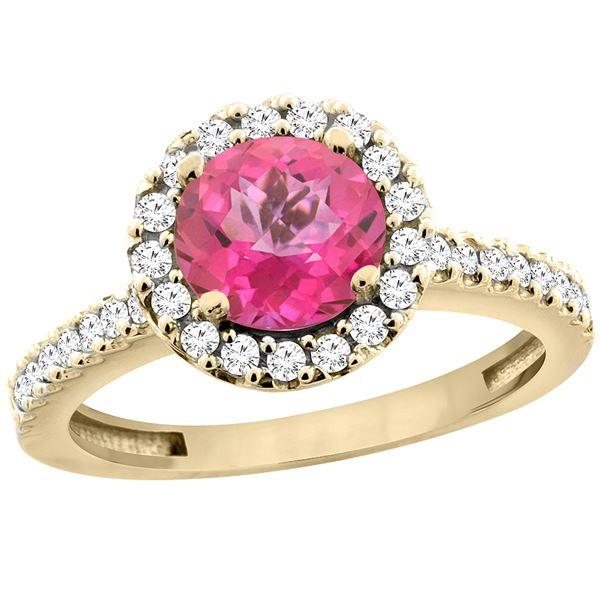 1.38 CTW Pink Topaz & Diamond Ring 10K Yellow Gold - REF-54W4F
