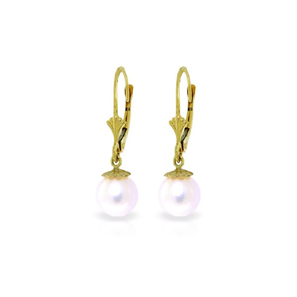 Genuine 4 ctw Pearl Earrings 14KT Yellow Gold - REF-20A7K