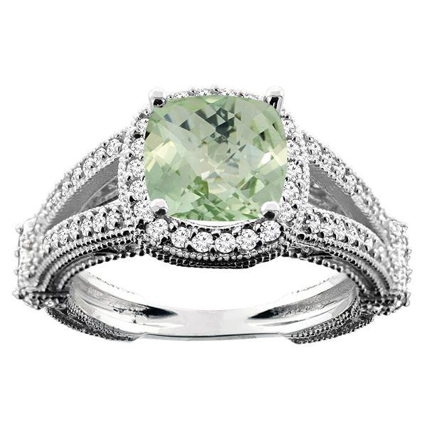 4.10 CTW Amethyst & Diamond Ring 14K White Gold - REF-55K3W