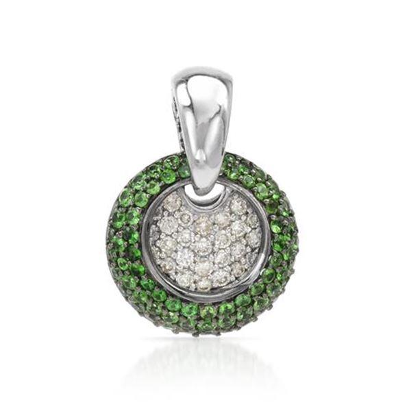 Natural 1.53 CTW Tsavorite & Diamond Necklace 14K White Gold - REF-95F4M