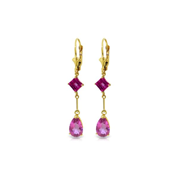 Genuine 4.95 ctw Pink Topaz Earrings 14KT Yellow Gold - REF-31R4P