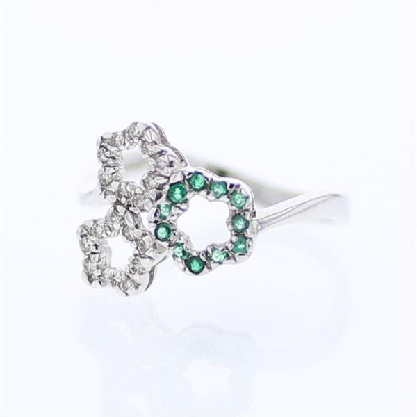 Natural 0.23 CTW Emerald & Diamond Ring 14K White Gold - REF-26W3H