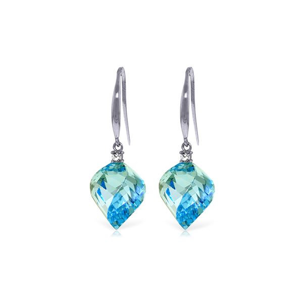 Genuine 27.9 ctw Blue Topaz & Diamond Earrings 14KT White Gold - REF-81X5M