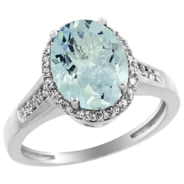 2.60 CTW Aquamarine & Diamond Ring 14K White Gold - REF-55M2K