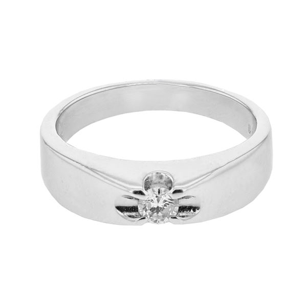 Natural 0.14 CTW Diamond Ring 14K White Gold - REF-50F4M
