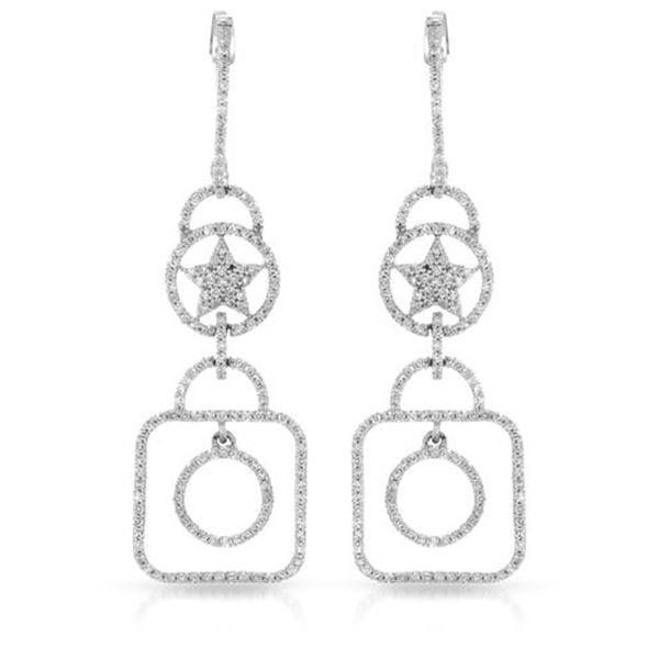 Natural 0.94 CTW Diamond Earrings 14K White Gold - REF-78W3H