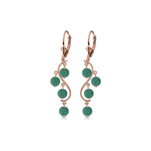 Genuine 4 ctw Emerald Earrings 14KT Rose Gold - REF-76W6Y