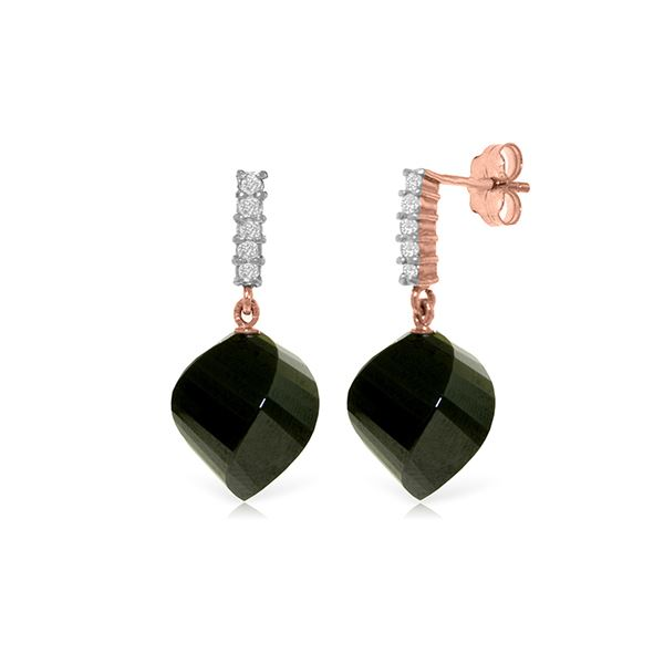 Genuine 31.15 ctw Black Spinel & Diamond Earrings 14KT Rose Gold - REF-48P9H