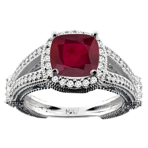 3.85 CTW Ruby & Diamond Ring 14K White Gold - REF-56X2M