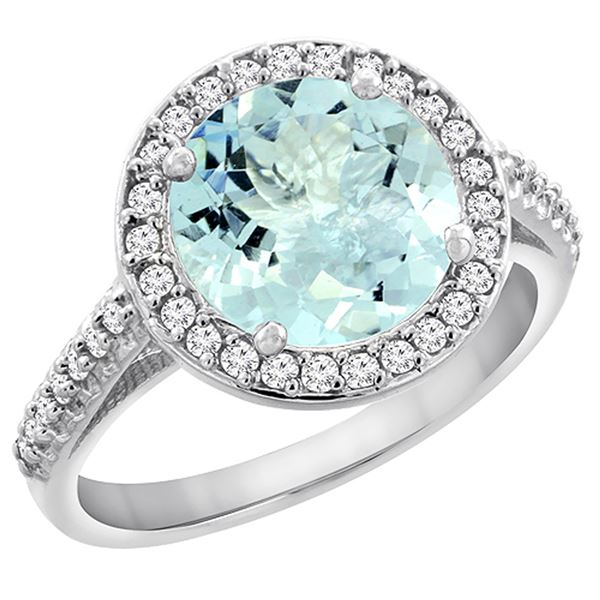 2.44 CTW Aquamarine & Diamond Ring 14K White Gold - REF-64H5M