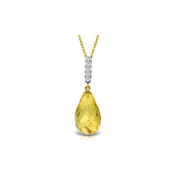 Genuine 5.08 ctw Citrine & Diamond Necklace 14KT Yellow Gold - REF-29K2V