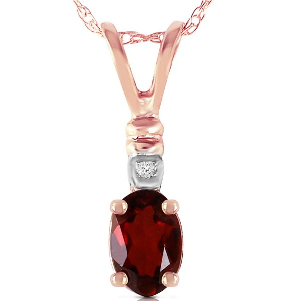 Genuine 0.46 ctw Garnet & Diamond Necklace 14KT Rose Gold - REF-21K6V