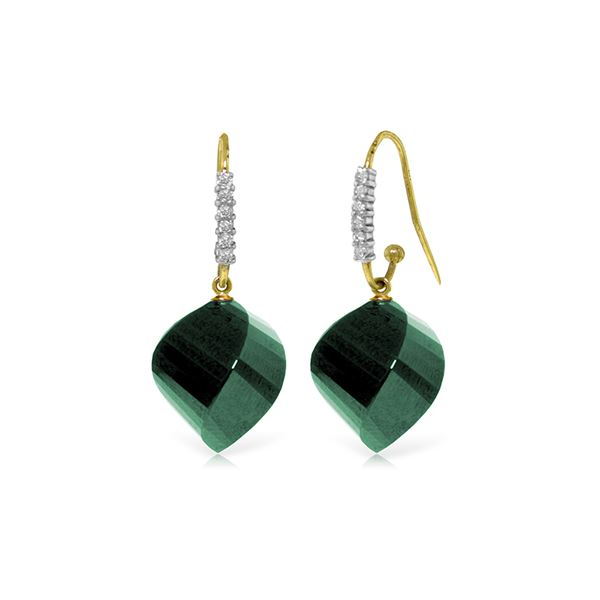 Genuine 30.68 ctw Green Sapphire Corundum & Diamond Earrings 14KT Yellow Gold - REF-67F3Z