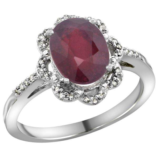 2.33 CTW Ruby & Diamond Ring 14K White Gold - REF-57M9A
