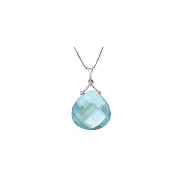 Genuine 8.5 ctw Blue Topaz Necklace 14KT White Gold - REF-26Z9N