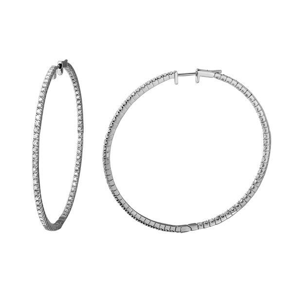 Natural 1.51 CTW Diamond Earrings 18K White Gold - REF-254K7R