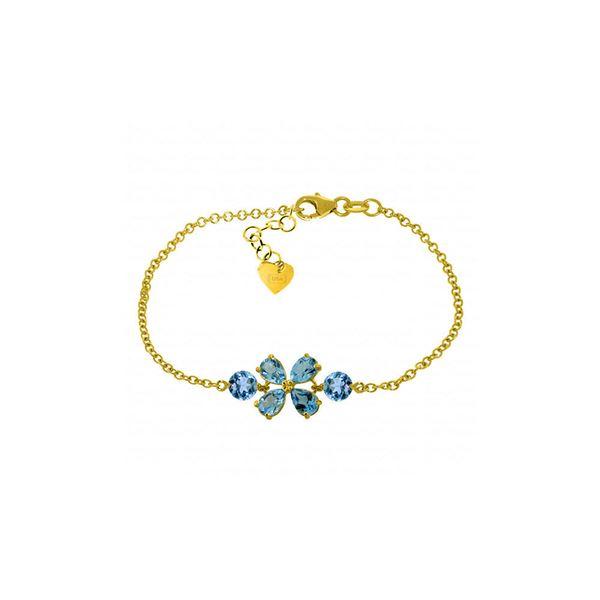 Genuine 3.15 ctw Blue Topaz Bracelet 14KT Yellow Gold - REF-56H4X