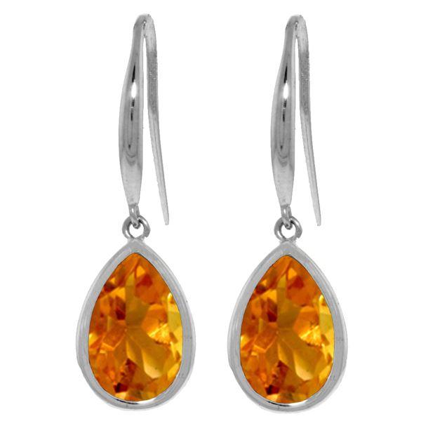 Genuine 5 ctw Citrine Earrings 14KT White Gold - REF-35Y2F