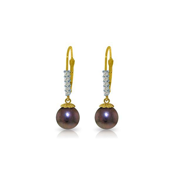 Genuine 8.15 ctw Pearl & Diamond Earrings 14KT Yellow Gold - REF-34M7T