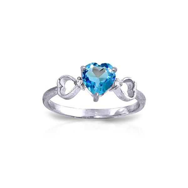 Genuine 0.96 ctw Blue Topaz & Diamond Ring 14KT White Gold - REF-41F4Z