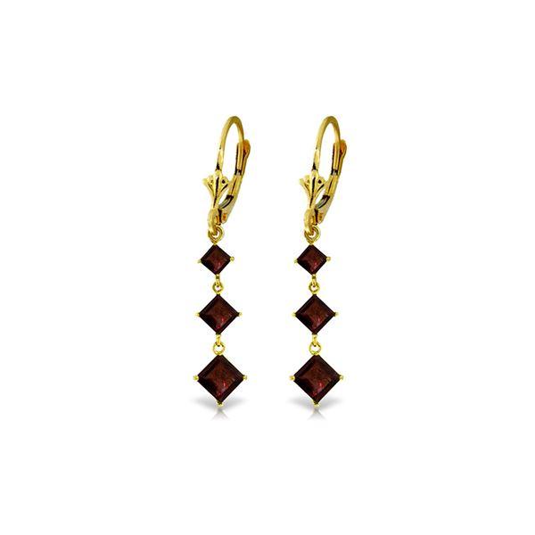 Genuine 4.79 ctw Garnet Earrings 14KT Yellow Gold - REF-50Z2N