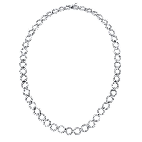 Natural 12.86 CTW Diamond Necklace 18K White Gold - REF-904N5Y