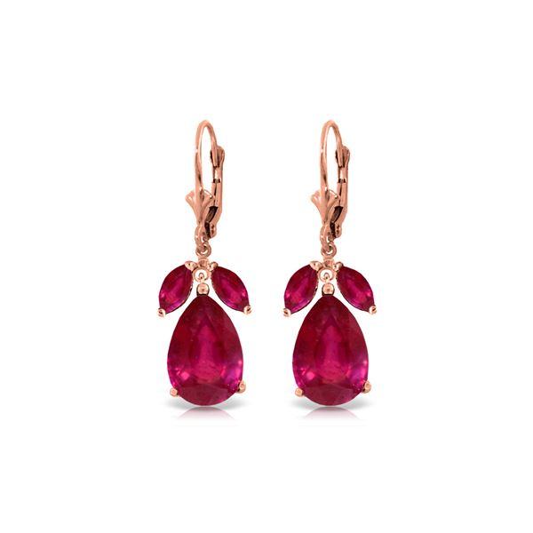 Genuine 11 ctw Ruby Earrings 14KT Rose Gold - REF-97K2V