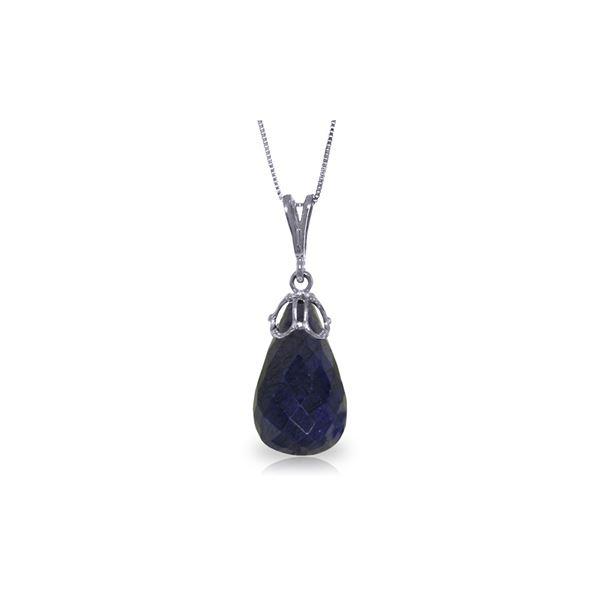 Genuine 14.8 ctw Sapphire Necklace 14KT White Gold - REF-28K3V