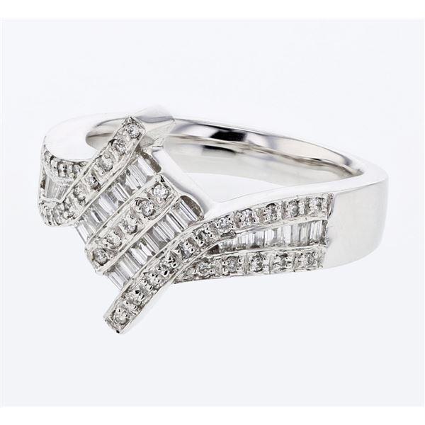 Natural 0.53 CTW Baguette & Diamond Ring 14K White Gold - REF-111W6H