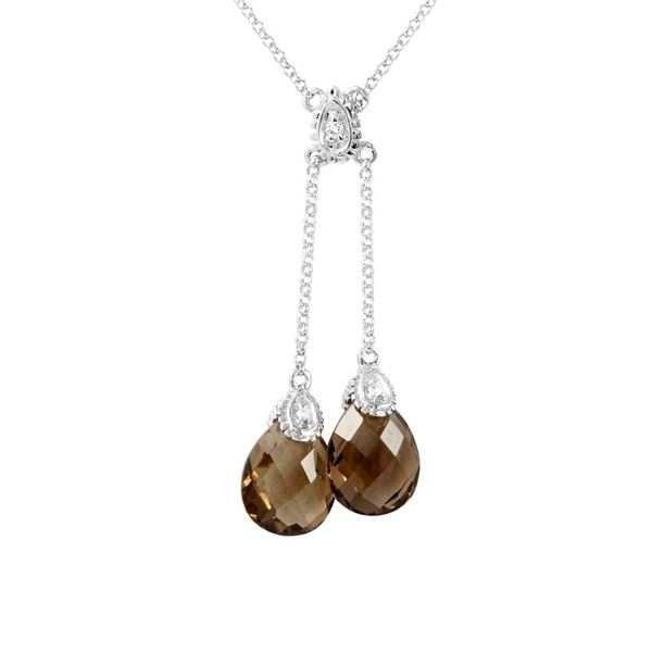 Natural 4.23 CTW Smoky Topaz & Diamond Necklace 14K White Gold - REF-32F4M