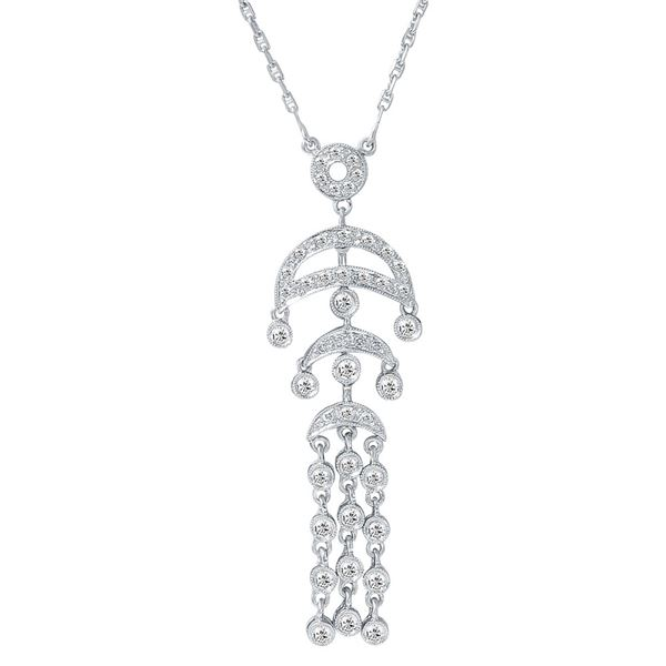 Natural 0.63 CTW Diamond Necklace 18K White Gold - REF-85N5Y