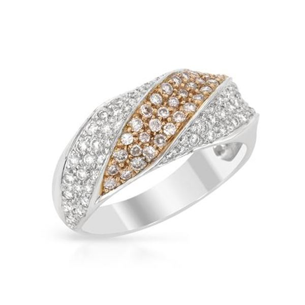 Natural 0.80 CTW Diamond Band Ring 18K Two Tone Yellow Gold - REF-104W4H