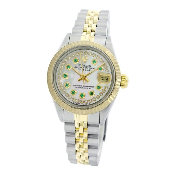 Rolex Pre-owned 26mm Womens Custom String White Mother of Pearl Two Tone