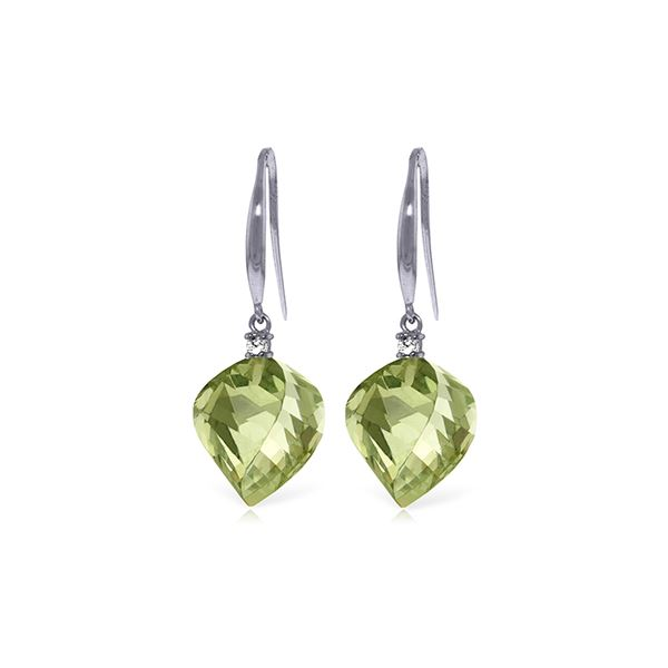 Genuine 26.1 ctw Green Amethyst & Diamond Earrings 14KT White Gold - REF-55Z3N